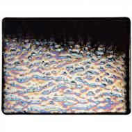 Black Opalescent, Soft Ripple Texture, Iridescent, 3 mm, Fusible, 10x10 in.