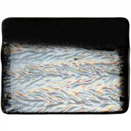 Black Opalescent, Herringbone Ripple, Iridescent, 3 mm, Fusible, 17x20 in., Half Sheet