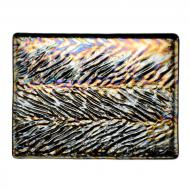Black Opalescent, Herringbone Ripple, Iridescent, 3 mm, Fusible, 10x10 in.