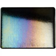 Black Opalescent, Reeded Texture, Iridescent, rainbow, 3 mm, Fusible, 17x20 in., Half Sheet
