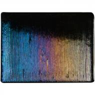 Black Opalescent, Thin, Reeded Texture, Iridescent, rainbow, 2 mm, Fusible, 10x10 in.