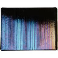 Black Opalescent, Thin, Accordion Texture, Iridescent, rainbow, 2 mm, Fusible, 10x10 in.