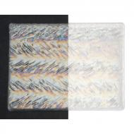 Clear Transparent, Herringbone Ripple, Iridescent, 3 mm, Fusible, 10x10 in.