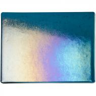 Aquamarine Blue Transparent, Thin-rolled, Iridescent, rainbow, 2 mm, Fusible, 10x10 in.