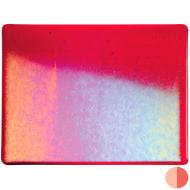 Red Transparent, Double-rolled, Iridescent, rainbow, 3 mm, Fusible, 17x20 in., Half Sheet