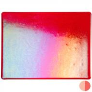 Red Transparent, Thin-rolled, Iridescent, rainbow, 2 mm, Fusible, 10x10 in.