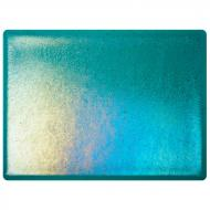 Peacock Blue Transparent, Thin-rolled, Iridescent, rainbow, 2 mm, Color Sample, 2x2 in.