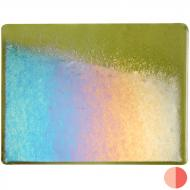 Pine Green Transparent, Thin-rolled, Iridescent, rainbow, 2 mm, Fusible, 10x10 in.