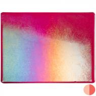Cranberry Pink Transparent, Thin-rolled, Iridescent, rainbow, 2 mm, Fusible, 10x10 in.