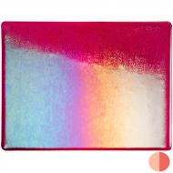 Garnet Red Transparent, Thin-rolled, Iridescent, rainbow, 2 mm, Fusible, 17x20 in., Half Sheet