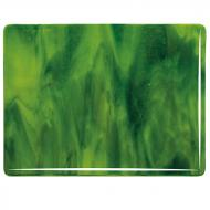 Yellow Opalescent, Deep Forest Green Transparent 2-Color Mix, Double-rolled, 3 mm, Fusible, 10x10 in.