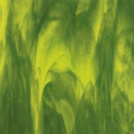 Yellow Opalescent, Deep Forest Green Transparent 2-Color Mix, Double-rolled, 3 mm, Fusible, 35x20 in., Full Sheet