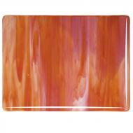 Red Opalescent, White Opalescent 2-Color Mix, Double-rolled, 3 mm, Fusible, 10x10 in.