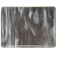 Charcoal Gray Transparent, White Opalescent 2-Color Mix, Double-rolled, 3 mm, Fusible, 10x10 in.