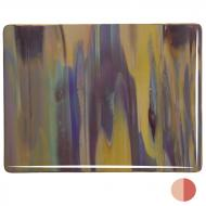 Soft Yellow Opalescent, Deep Red Transparent 2-Color Mix, Single-rolled, 3 mm, Fusible, 17x20 in., Half Sheet