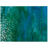 Azure Blue Opalescent, Jade Green Opalescent, Neo-Lavender Shift Transparent 3+ Color Mix, Soft Ripple Texture, 3 mm, Fusible, 10x10 in.