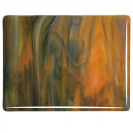White Opalescent, Orange Opalescent, Deep Forest Green Transparent 3+ Color Mix, Double-rolled, 3 mm, Fusible, 10x10 in.