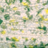 SUMMER: Green and Yellow on White Lacy White Base Collage, Single-rolled, 3 mm, Color Sample, 2x2 in.