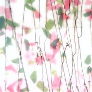 Spring Green and Deep Pink on White Lacy White Base Collage, Single-rolled, 3 mm, Fusible, 17x20 in., Half Sheet