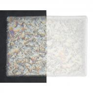 Clear with Clear Fractures Clear Base Collage, Double-rolled, Iridescent, rainbow, 3 mm, Fusible, 17x20 in., Half Sheet