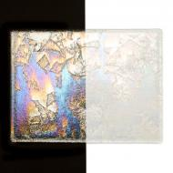 Clear with Clear Fractures Clear Base Collage, Double-rolled, Iridescent, rainbow, 3 mm, Color Sample, 2x2 in.