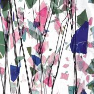 SPRING: Blue, Green, Aqua, and Pink on Clear Clear Base Collage, Single-rolled, 3 mm, Fusible, 35x20 in., Full Sheet