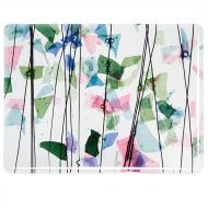 SPRING: Blue, Green, Aqua, and Pink on Clear Clear Base Collage, Single-rolled, 3 mm, Fusible, 17x20 in., Half Sheet