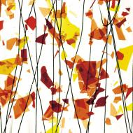 AUTUMN: Orange, Yellow, and Red on Clear Clear Base Collage, Single-rolled, 3 mm, Color Sample, 2x2 in.