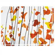 AUTUMN: Orange, Yellow, and Red on Clear Clear Base Collage, Single-rolled, 3 mm, Fusible, 10x10 in.