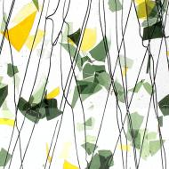 SUMMER: Green and Yellow on Clear Clear Base Collage, Single-rolled, 3 mm, Fusible, 35x20 in., Full Sheet