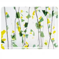 SUMMER: Green and Yellow on Clear Clear Base Collage, Single-rolled, 3 mm, Fusible, 10x10 in.