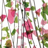 Spring Green and Deep Pink on Clear Clear Base Collage, Single-rolled, 3 mm, Fusible, 10x10 in.