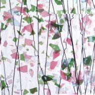 Light Pink, Green, and White on Clear Clear Base Collage, Single-rolled, 3 mm, Fusible, 17x20 in., Half Sheet