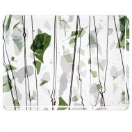 Green and White on Clear Clear Base Collage, Single-rolled, 3 mm, Fusible, 17x20 in., Half Sheet