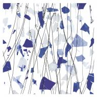 Blue and White on Clear Clear Base Collage, Single-rolled, 3 mm, Fusible, 10x10 in.