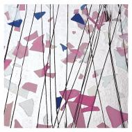 Light Pink, Blue, and White on Clear Clear Base Collage, Single-rolled, 3 mm, Color Sample, 2x2 in.