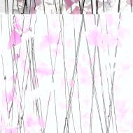 Light Pink and White on Clear Clear Base Collage, Single-rolled, 3 mm, Fusible, 10x10 in.