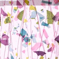 Deep Pink, Plum, Spring Green, Aqua (with Pink Streamers) on Clear Clear Base Collage, Single-rolled, 3 mm, Color Sample, 2x2 in.