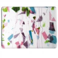 Deep Pink, Plum, Spring Green, Aqua (with Pink Streamers) on Clear Clear Base Collage, Single-rolled, 3 mm, Fusible, 10x10 in.