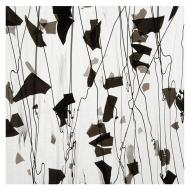 Black with Black Streamers on Clear, Clear Base Collage, Single-rolled, 3 mm, Fusible, 10x10 in.