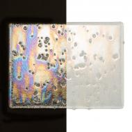 Clear with Clear Frit, Irid, Rainbow Clear Base Collage, Double-rolled, Iridescent, rainbow, 3 mm, Color Sample, 2x2 in.