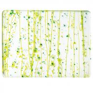 Dark Green, Spring Green, and Yellow Frit, Spring Green Streamers Clear Base Collage, Single-rolled, 3 mm, Fusible, 17x20 in., Half Sheet