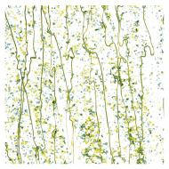 Dark Green, Spring Green, and Yellow Frit, Spring Green Streamers Clear Base Collage, Single-rolled, 3 mm, Color Sample, 2x2 in.