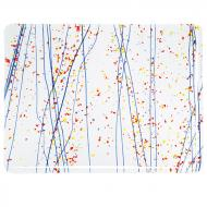 Yellow, Blue, and Red Frit, Blue Streamers Clear Base Collage, Single-rolled, 3 mm, Fusible, 17x20 in., Half Sheet