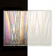 Clear with Clear Stringers, Clear Base Collage, Double-rolled, Iridescent, rainbow, 3 mm, Color Sample, 2x2 in.