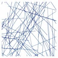 Blue Chopstix Clear Base Collage, Double-rolled, 3 mm, Fusible, 10x10 in.