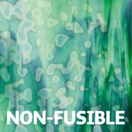Medium Celery Green Opalescent, Emerald Green Transparent 2-Color Mottle Mix, Single-rolled, 3 mm, Non-fusible, 10x10 in.