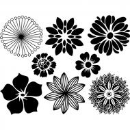Fusible Decals, Large Flowers, Black