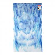 White Opalescent, True Blue Transparent, Light Turquoise Opalescent 3+ Color Mix, Double-rolled, 3 mm, Fusible, 10x10 in.