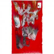Red Opalescent, Deep Gray Transparent, White Opalescent 3+ Color Mix, Graffiti, Double-rolled, 3 mm, Fusible, 35x20 in., Full Sheet